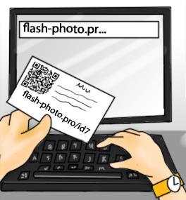 Клиент, пользуясь вашей карточкой, найдет свои фото на нашем сайте.